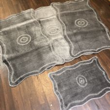 ROMANY GYPSY WASHABLE MATS FULL SET OF 4 MATS/RUGS X LARGE 100X140CM DARK GREY